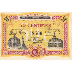 Limoges - Pirot 73-23 - 50 centimes - Série H - Sans date - Etat : TTB