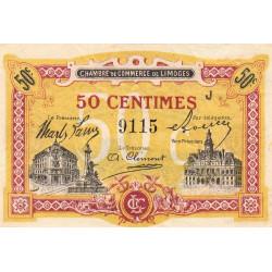Limoges - Pirot 73-23 - 50 centimes - Série J - Sans date - Etat : SUP