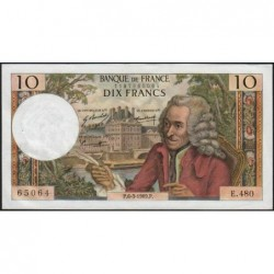 F 62-37 - 06/03/1969 - 10 francs - Voltaire - Série E.480 - Etat : SUP