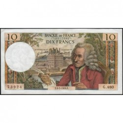 F 62-37 - 06/03/1969 - 10 francs - Voltaire - Série G.480 - Etat : TTB+