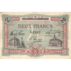 Limoges - Pirot 73-25 - 2 francs - Sans série - Sans date - Etat : TB