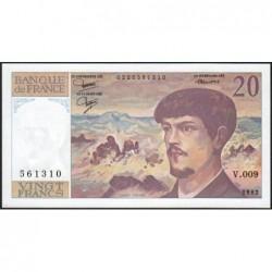 F 66-03 - 1982 - 20 francs - Debussy - Série V.009 - Etat : pr.NEUF