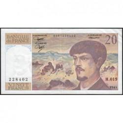 F 66-06 - 1985 - 20 francs - Debussy - Série H.015 - Etat : TTB