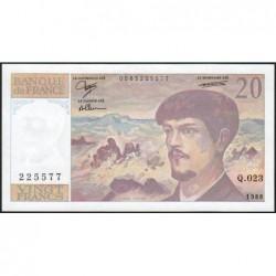 F 66-09 - 1988 - 20 francs - Debussy - Série Q.023 - Etat : NEUF