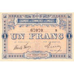 Limoges - Pirot 73-7a - Série B - 1 franc - 1914 - Etat : TTB+