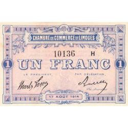 Limoges - Pirot 73-15 - 1 franc - Série H - 17/08/1914 - Etat : SUP+