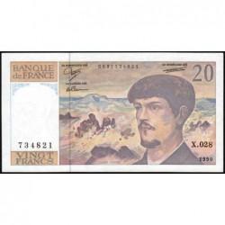 F 66bis-01 - 1990 - 20 francs - Debussy - Série X.028 - Etat : NEUF