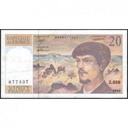 F 66bis-01 - 1990 - 20 francs - Debussy - Série Z.028 - Etat : TTB+