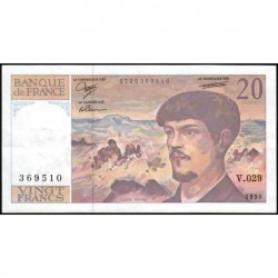 F 66bis-01 - 1990 - 20 francs - Debussy - Série V.029 - Etat : TTB+