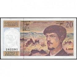 F 66bis-02 - 1991 - 20 francs - Debussy - Série L.033 - Etat : SUP
