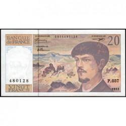 F 66bis-03 - 1992 - 20 francs - Debussy - Série P.037 - Etat : SPL