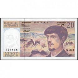 F 66bis-05 - 1993 - 20 francs - Debussy - Série M.043 - Etat : NEUF