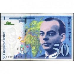 F 72-02 - 1993 - 50 francs - Saint-Exupéry - Série F - Etat : SUP+