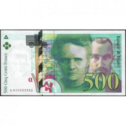 F 76-01 - 1994 - 500 francs - Pierre et Marie Curie - Série A - Etat : SUP+
