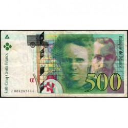 F 76-01 - 1994 - 500 francs - Pierre et Marie Curie - Série J - Etat : TB-