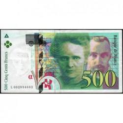 F 76-01 - 1994 - 500 francs - Pierre et Marie Curie - Série L - Etat : TTB-
