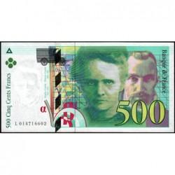 F 76-01 - 1994 - 500 francs - Pierre et Marie Curie - Série L - Etat : TTB+