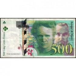 F 76-01 - 1994 - 500 francs - Pierre et Marie Curie - Série T - Etat : TB