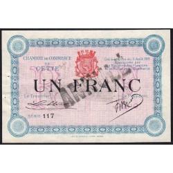 Cette (Sète) - Pirot 41-8b - 1 franc - Série 117 - 11/08/1915 - Annulé - Etat : SUP