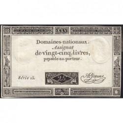 Assignat 43a - 25 livres - 6 juin 1793 - Série 15 - Etat : SUP+ à SPL
