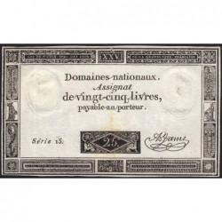 Assignat 43a - 25 livres - 6 juin 1793 - Série 15 - Etat : TTB+