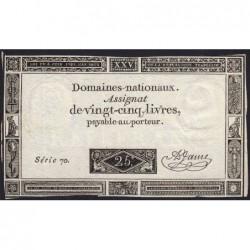 Assignat 43a - 25 livres - 6 juin 1793 - Série 70 - Etat : TTB