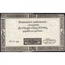 Assignat 43a - 25 livres - 6 juin 1793 - Série 130 - Etat : TB