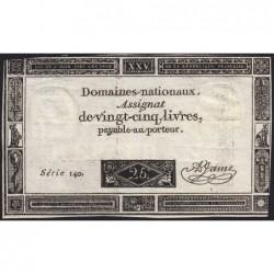 Assignat 43a - 25 livres - 6 juin 1793 - Série 140 - Etat : TTB-