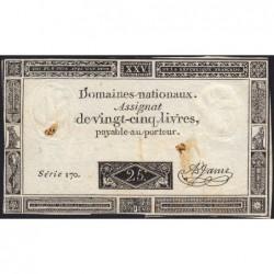 Assignat 43a - 25 livres - 6 juin 1793 - Série 170 - Etat : TB