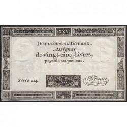 Assignat 43a - 25 livres - 6 juin 1793 - Série 224 - Etat : TTB+