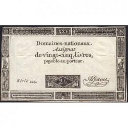 Assignat 43a - 25 livres - 6 juin 1793 - Série 224 - Etat : TTB