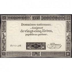 Assignat 43a - 25 livres - 6 juin 1793 - Série 278 - Etat : SUP