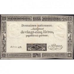 Assignat 43a - 25 livres - 6 juin 1793 - Série 278 - Etat : TTB