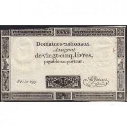 Assignat 43a - 25 livres - 6 juin 1793 - Série 293 - Etat : TTB