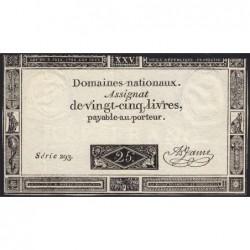 Assignat 43a - 25 livres - 6 juin 1793 - Série 293 - Etat : TB