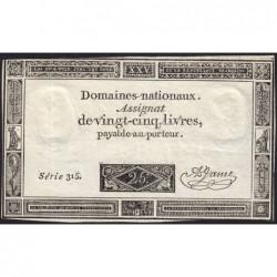 Assignat 43a - 25 livres - 6 juin 1793 - Série 315 - Etat : TTB+
