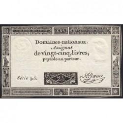 Assignat 43a - 25 livres - 6 juin 1793 - Série 315 - Etat : SUP