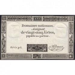 Assignat 43a - 25 livres - 6 juin 1793 - Série 315 - Etat : TTB