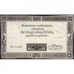 Assignat 43a - 25 livres - 6 juin 1793 - Série 318 - Etat : TTB-