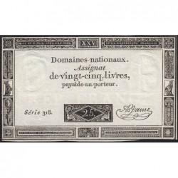 Assignat 43a - 25 livres - 6 juin 1793 - Série 318 - Etat : TTB+