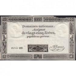 Assignat 43a - 25 livres - 6 juin 1793 - Série 888 - Etat : TB-