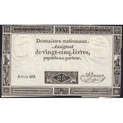 Assignat 43a - 25 livres - 6 juin 1793 - Série 888 - Etat : TTB-