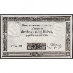 Assignat 43a - 25 livres - 6 juin 1793 - Série 888 - Etat : SUP