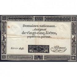 Assignat 43a - 25 livres - 6 juin 1793 - Série 1848 - Etat : TB-