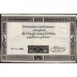 Assignat 43a - 25 livres - 6 juin 1793 - Série 1886 - Etat : TTB