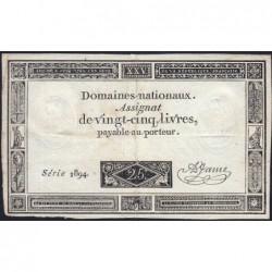 Assignat 43a - 25 livres - 6 juin 1793 - Série 1894 - Etat : TB+
