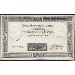 Assignat 43a - 25 livres - 6 juin 1793 - Série 1894 - Etat : B+