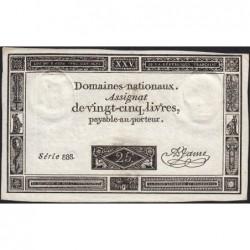 Assignat 43a - 25 livres - 6 juin 1793 - Série 888 - Etat : TTB+
