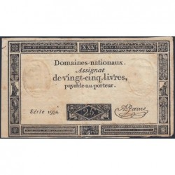 Assignat 43a - 25 livres - 6 juin 1793 - Série 1934 - Etat : TB-