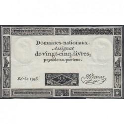 Assignat 43a - 25 livres - 6 juin 1793 - Série 1946 - Etat : TTB-
